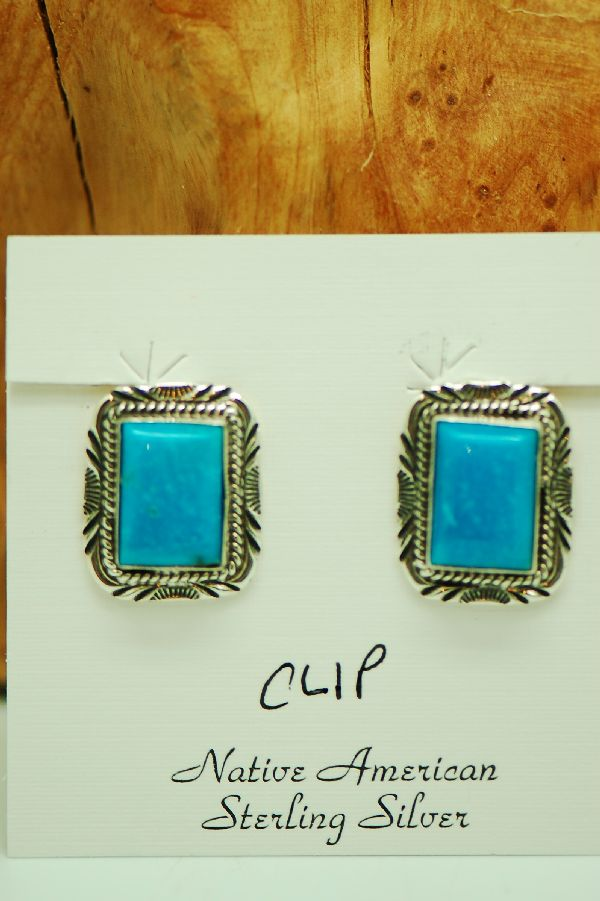 Clip On Turquoise Navajo Earrings