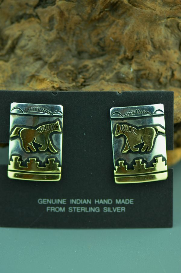 Tommy Singer Gold and Silver Horse Clip On Earrings