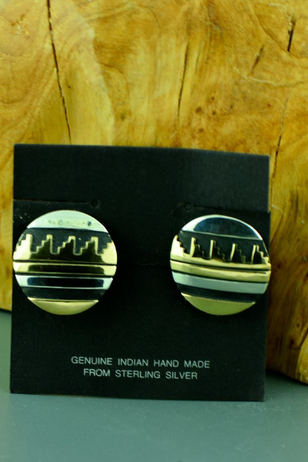 Clip On Silver and Gold Navajo Earrings