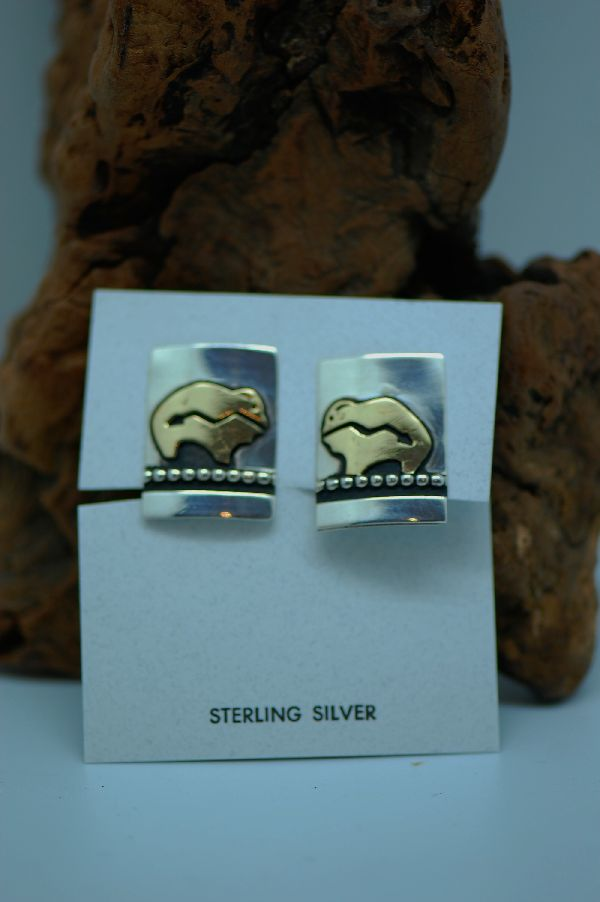 Native American Buffalo Clipon Earrings