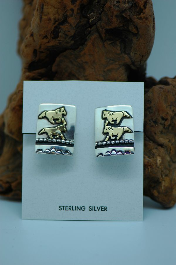 Native American Horse Clipon Earrings