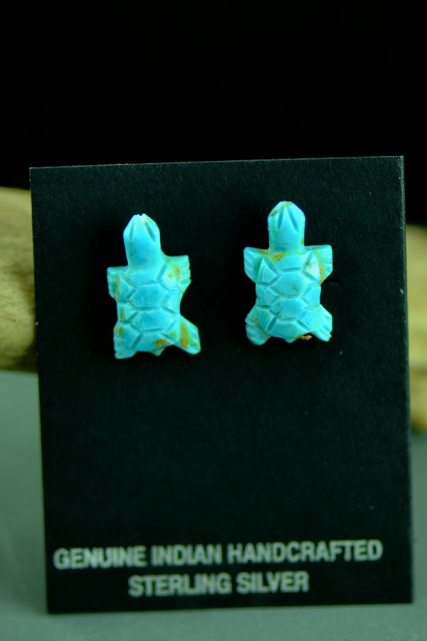 Authentic Native American Turtle Fetish Earrings