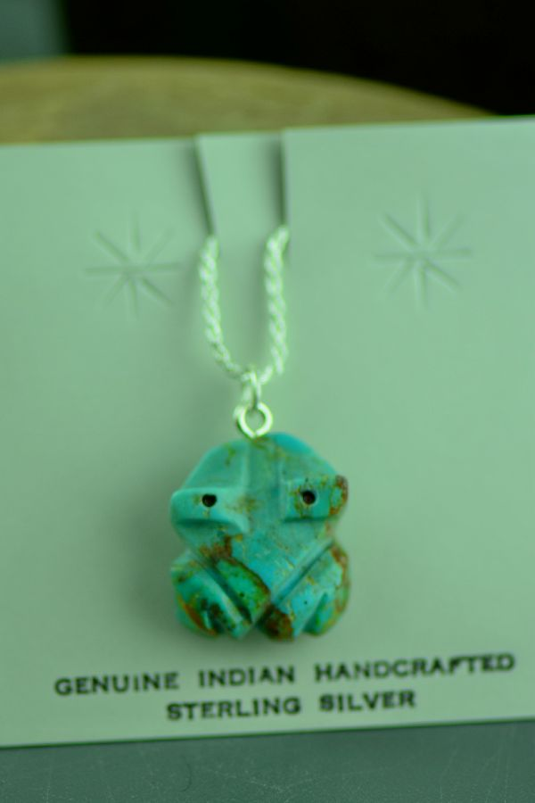 Turquoise Frog Fetish Navajo Pendant