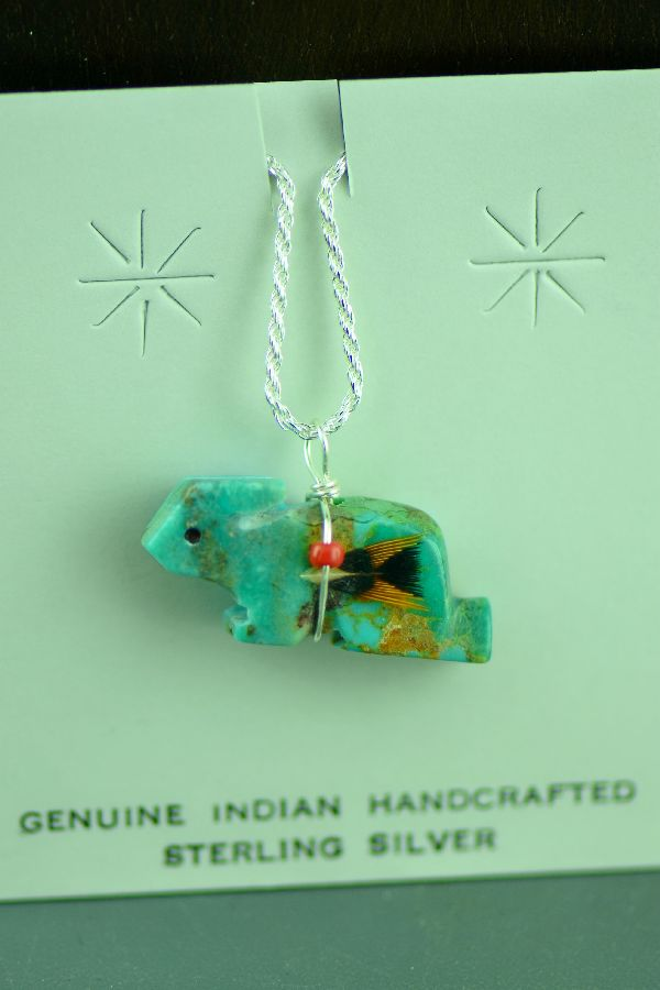 Native American Turquoise Rabbit Fetish Pendant