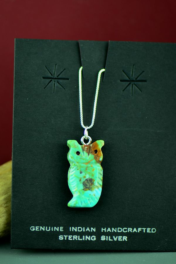 American Indian Kingman Turquoise Owl Fetish