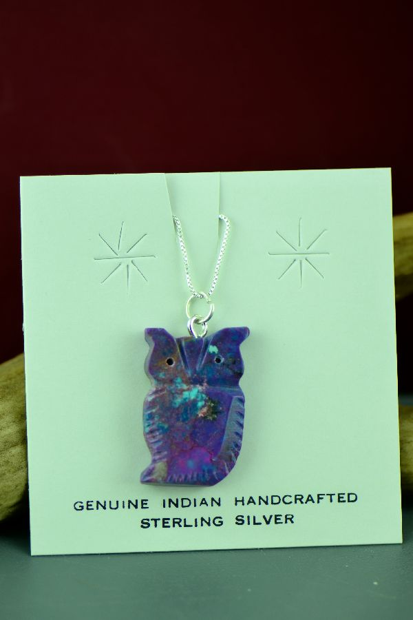 Mohave Purple Turquoise Owl Pendant