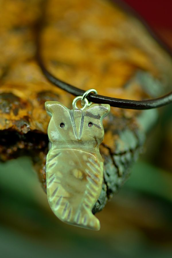 Navajo Carved Picasso Marble Owl Fetish Pendant