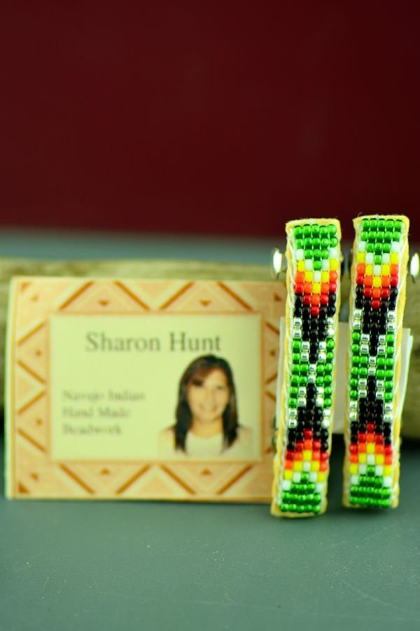 Sharon Hunt Beaded Barrettes Navajo