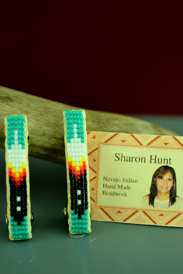American Indian Prayer Feather Beaded Barrettes
