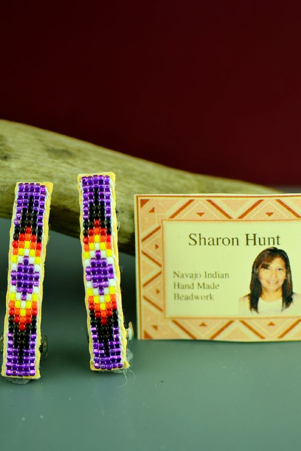 Navajo Beaded Barrettes Pair Traditional
