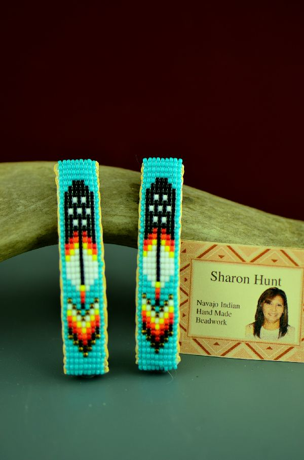 Beaded Arrow and Prayer Feather Navajo Barrettes