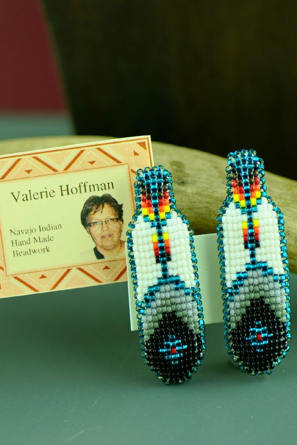 Handmade Prayer Feather Navajo Beaded Barrettes