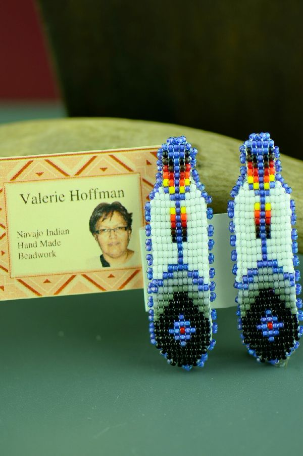 Beaded Barrettes with Prayer Feathers Navajo