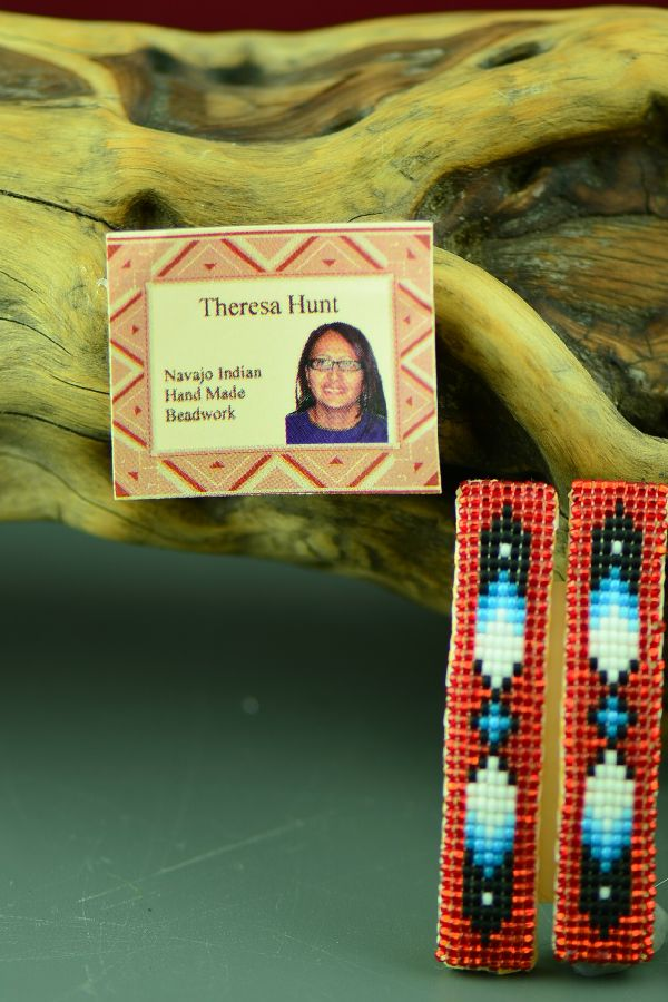 Red Beaded Native American Barrettes