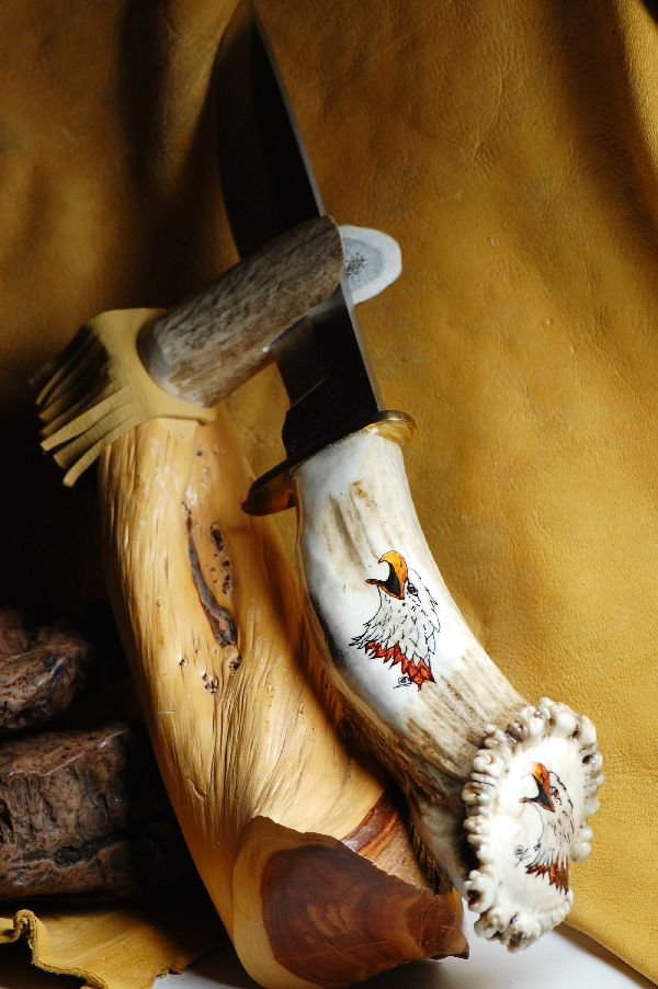 Elk Antler Hand Painted Eagle Knife