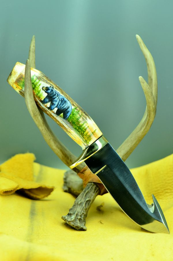 Hand Painted Black Bear Stag Handle Hunting Knife