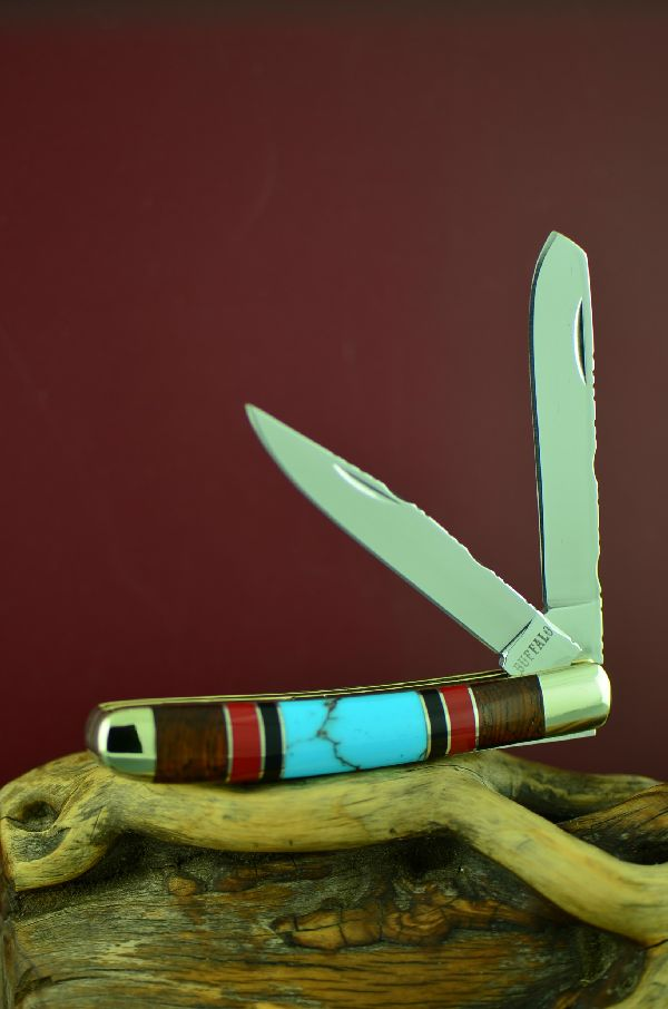 Native American 2 Blade Turquoise Pocket Knife