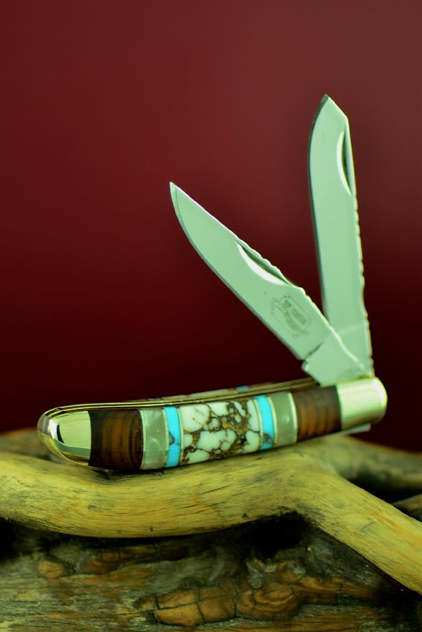 Native American Inlaid Mini Trapper Knife