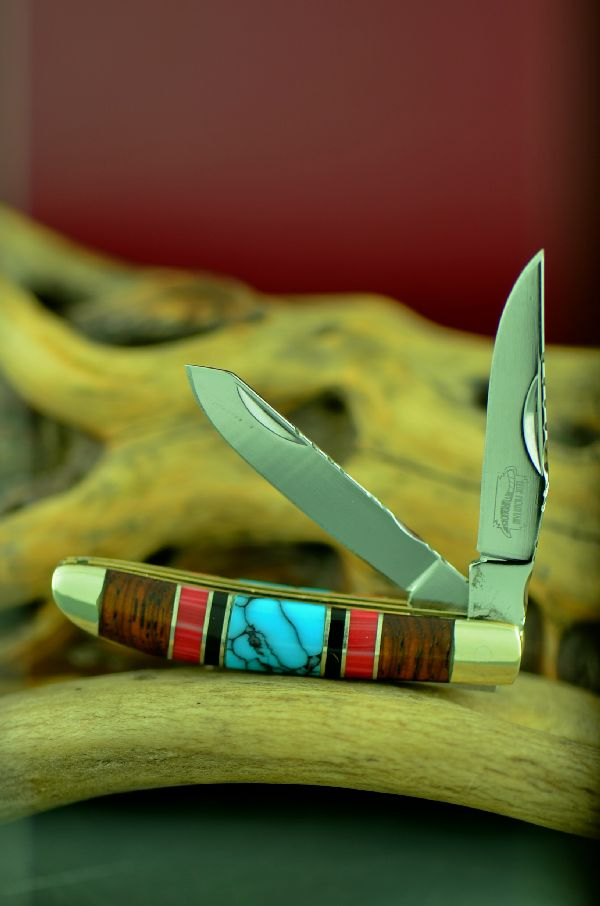 Cherokee Mini Trapper Turquoise Knife