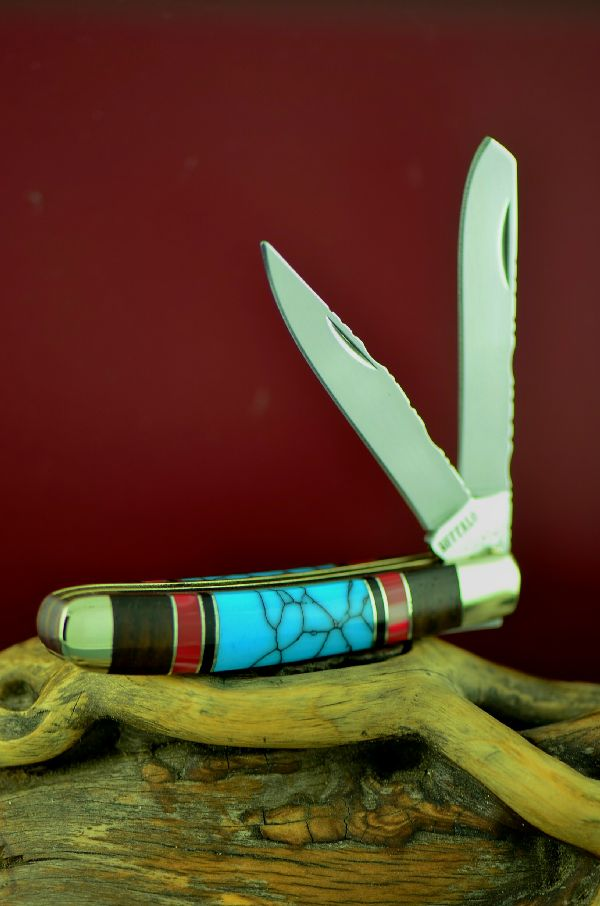 Cherokee 2 Blade Trapper Turquoise Knife
