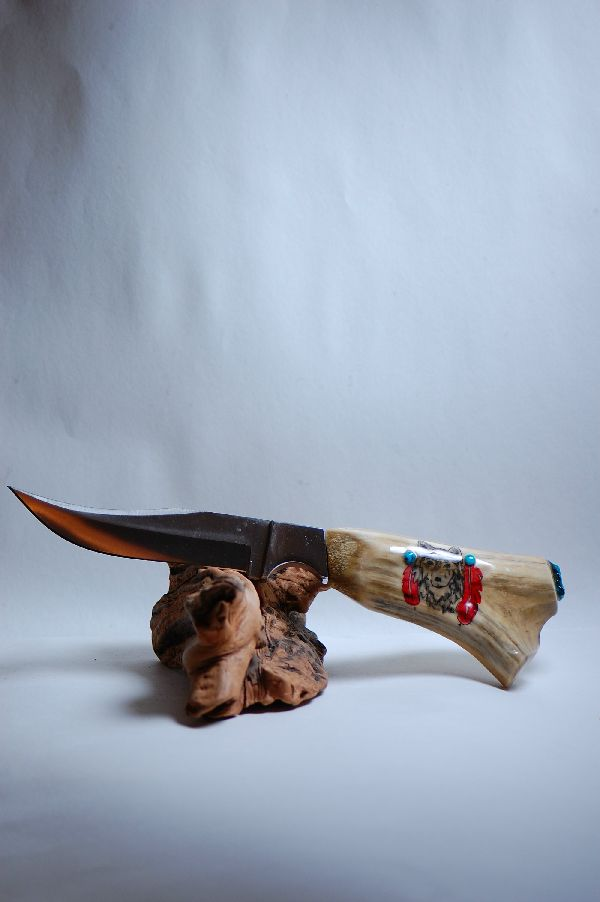 Hand Painted Elk Antler Knife