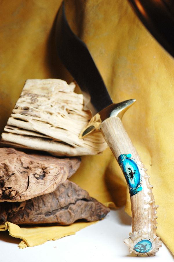 Deer Antler Hand Painted Knife