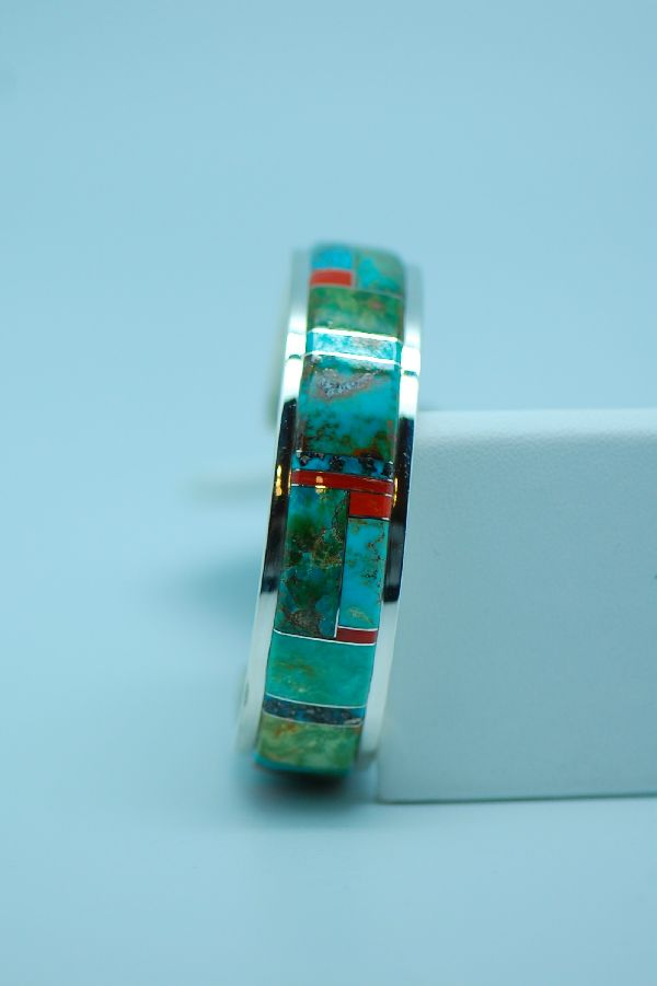Turquoise and Coral Inlaid Bracelet