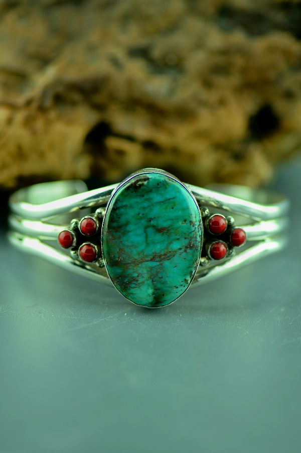 Bisbee Turquoise and Coral Bracelet