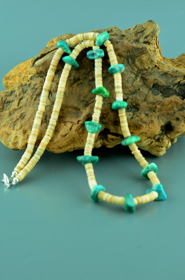 Turquoise and Penshell Navajo Necklace