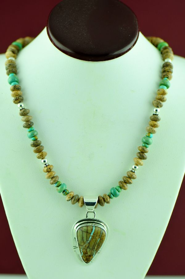 Phillip sanchez blue ribbon turquoise necklace for Royston ribbon turquoise jewelry