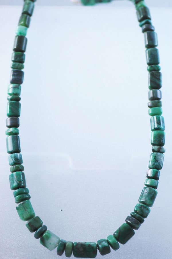 African Jade Necklace with Sterling Clasp