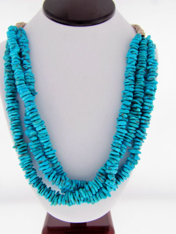 Navajo Turquoise Squaw Wrapped Necklace