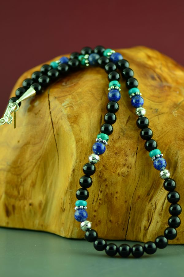 Rosita Singer Turquoise and Black Onyx Necklace