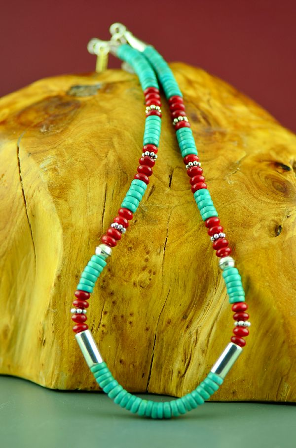 Navajo Apple Coral and Kingman Turquoise Necklace
