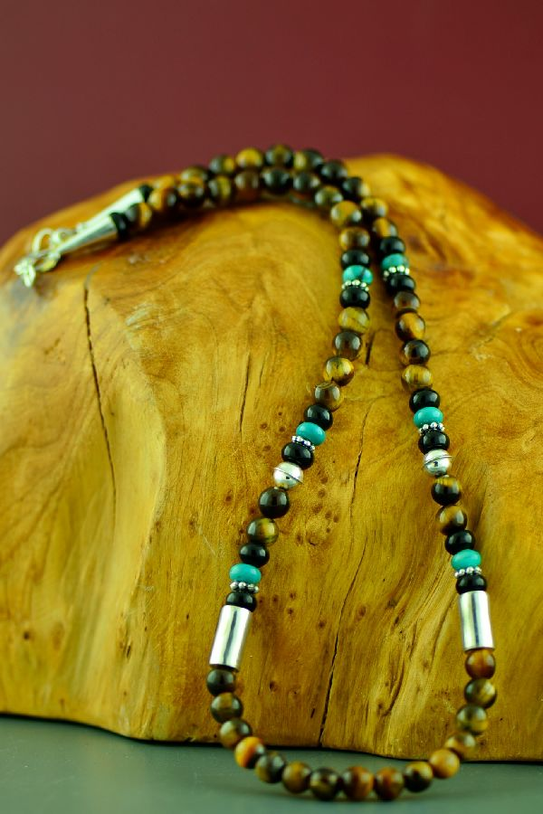 Rosita Singer Tiger Eye and Turquoise Necklace