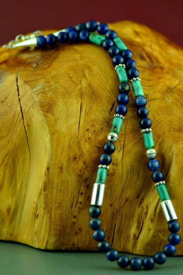 Navajo Kingman Turquoise and Lapis Necklace