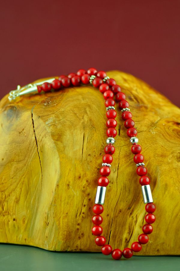 Navajo Sterling Apple Coral Necklace