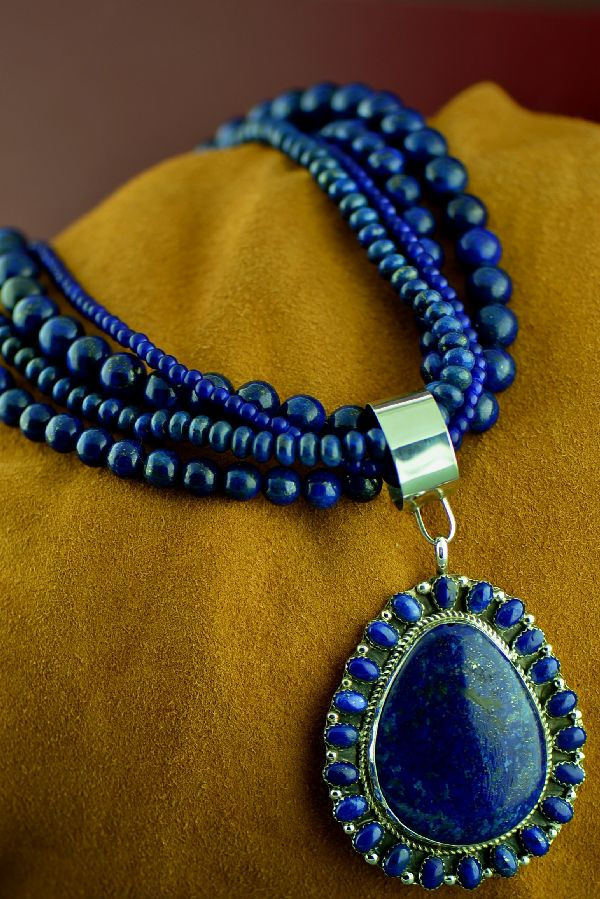 Navajo Lapis Necklace and Pendant