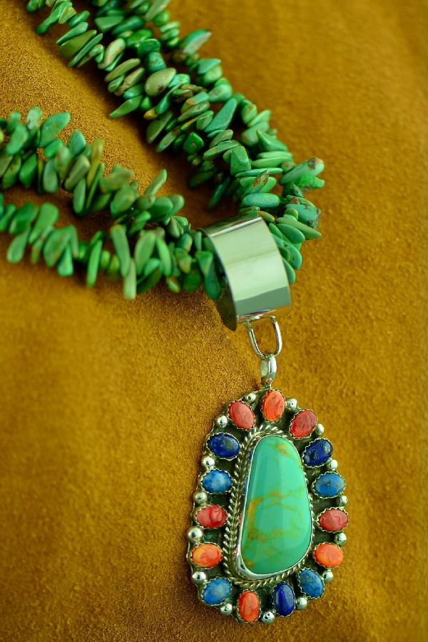 Navajo 3 Strand Nevada Turquoise Necklace