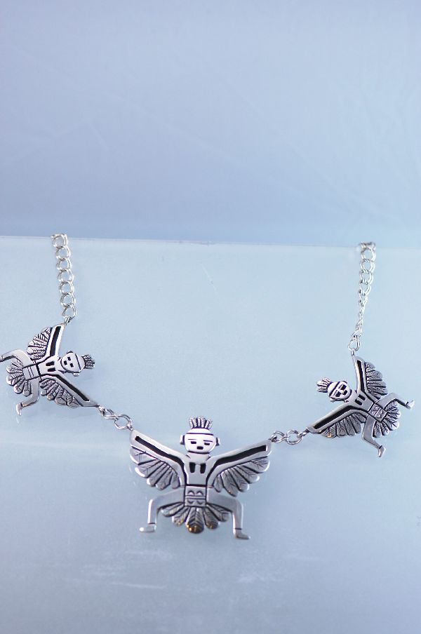 Navajo Sterling Silver Large Knife Wing Necklace