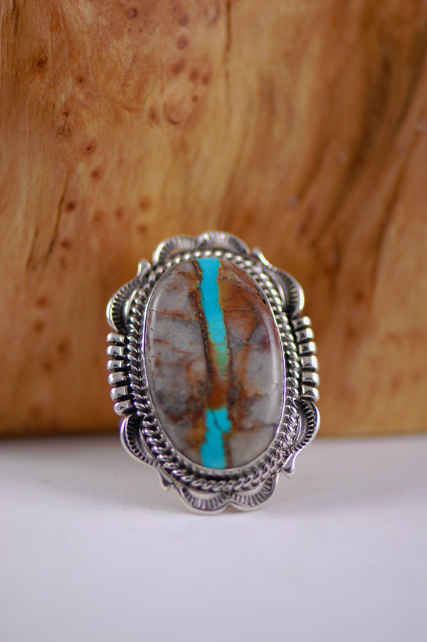 Natural Blue Ribbon Royston Turquoise Ring Size 9