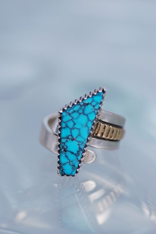 Navajo Ladies Spider Web Turquoise Ring