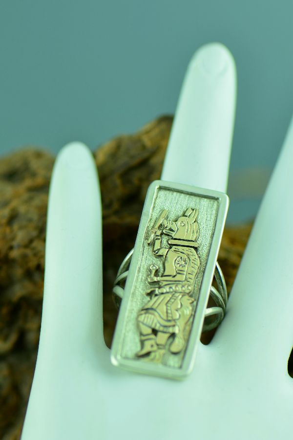 Gold and Sterling Wolf Dancer Kachina Ring