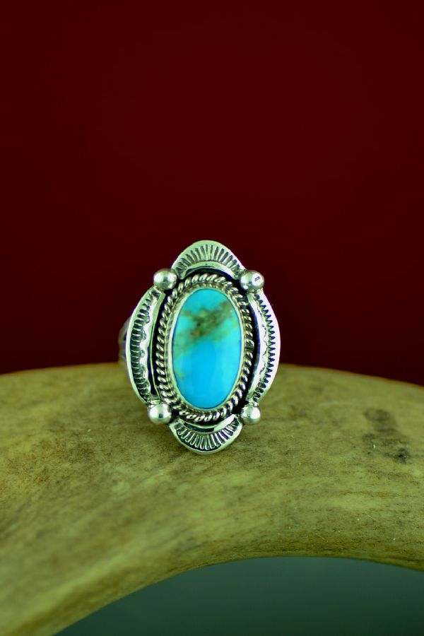 Ladies Blue Gem Turquoise Ring Size 5