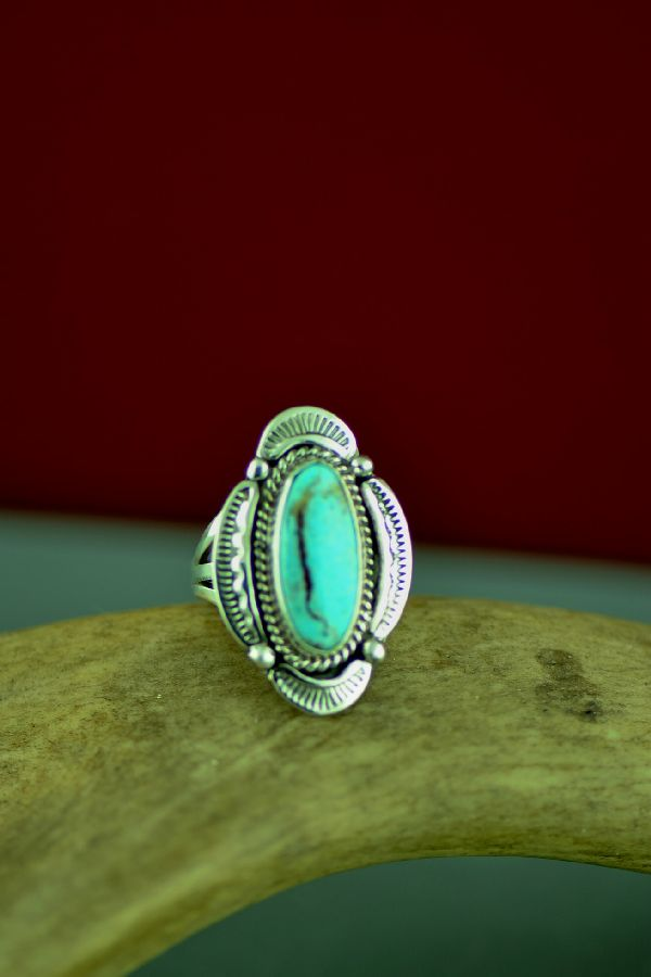 American Indian Kingman Turquoise Rings Size 5