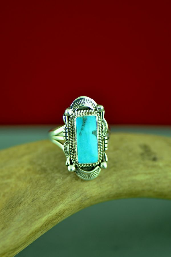Navajo Will Denetdale Bisbee Turquoise Ring