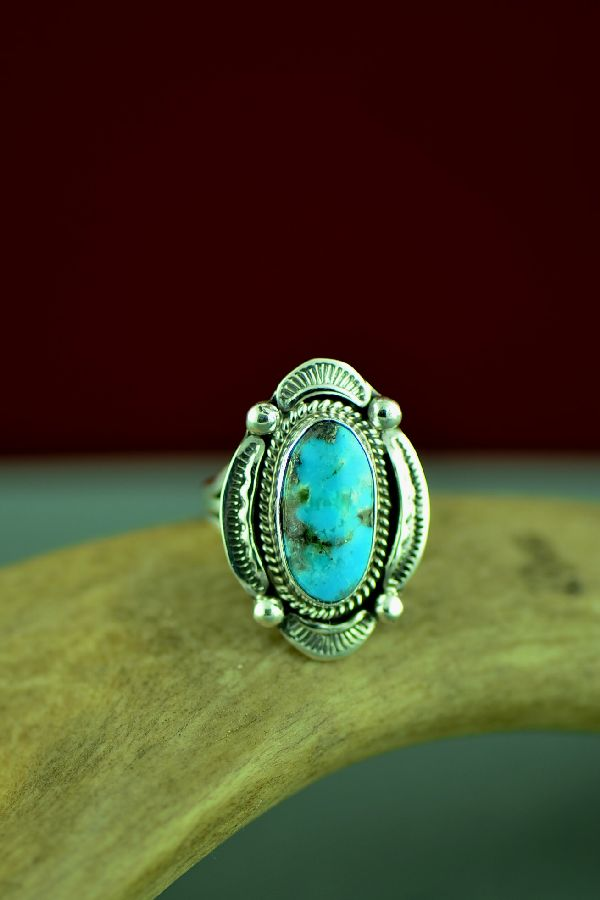 American Indian Kingman Turquoise Ring Size 7