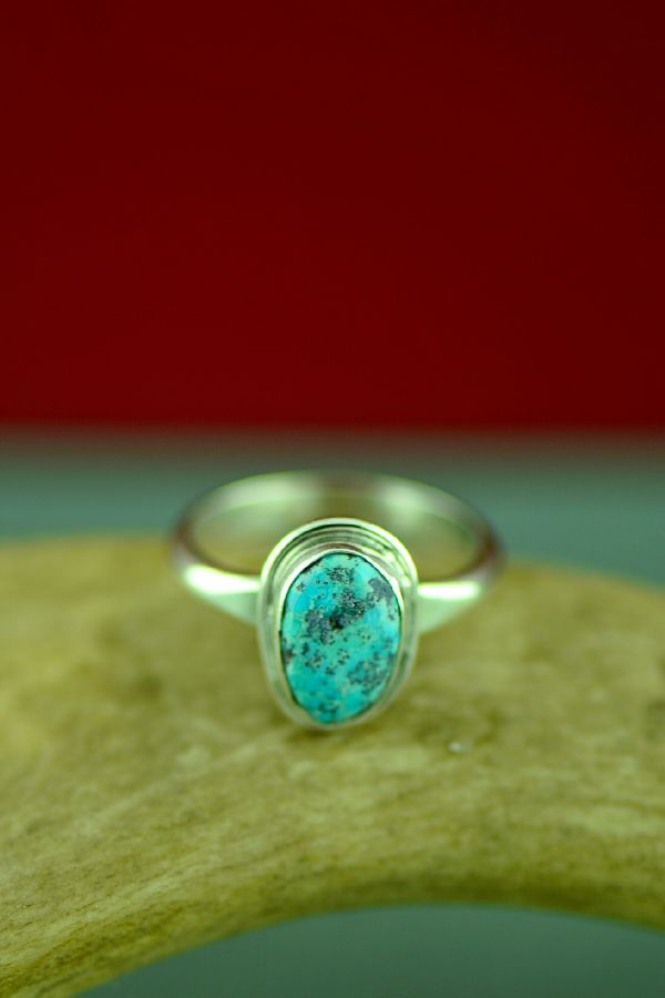 Size 9 Bisbee Turquoise Navajo Ring