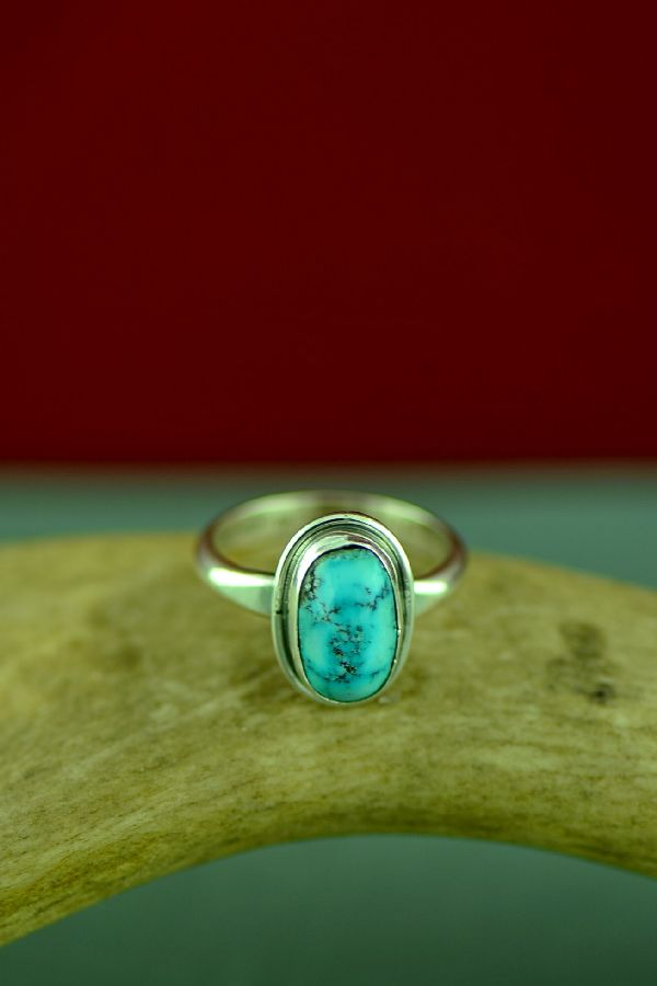 Navajo Bisbee Turquoise Ring Will Denetdale