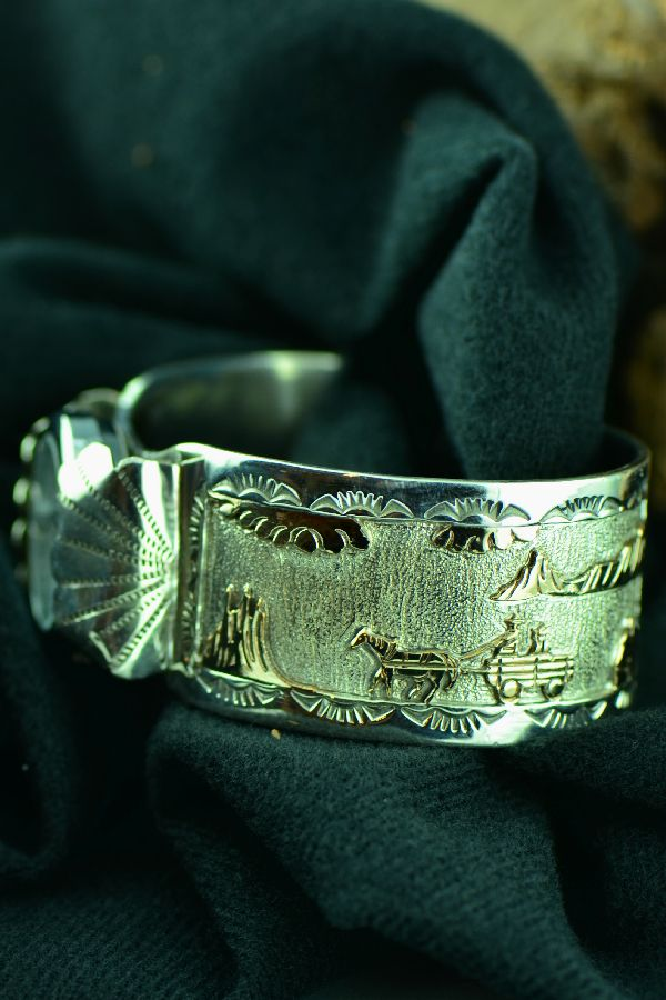 Navajo Story Gold and Silver Watch Bracelet